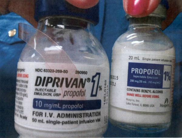 A picture of propofol in the possession of the Mo. Dept. of Corrections. Hospira, the manufacturer, says it was sold by an unauthorized dealer.