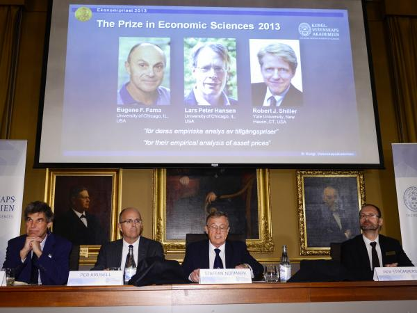 The Royal Swedish Academy of Sciences announces the winners of the 2013 Nobel Memorial Prize in Economic Sciences in Stockholm Monday. The prize went to U.S. professors Eugene Fama, Lars Peter Hansen and Robert Shiller.