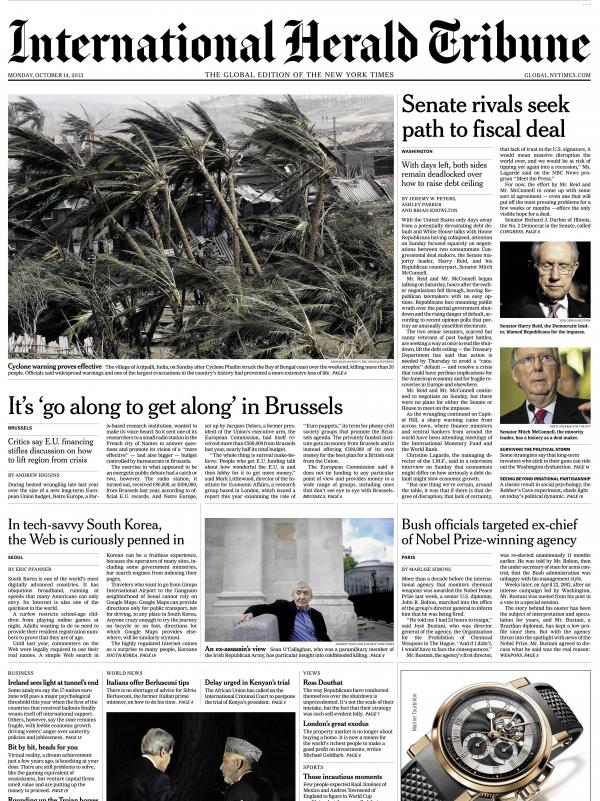 An image showing the final front page of <em>The International Herald Tribune</em>, published Monday Oct. 14. The newspaper will become <em>The International New York Times</em> Tuesday.