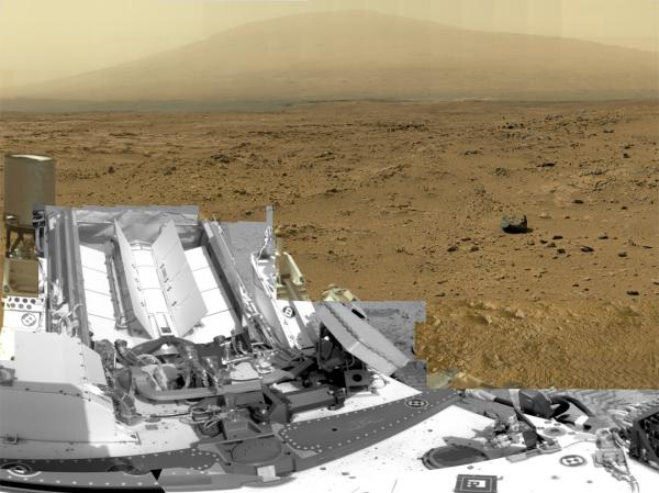 A photo composed of nearly 900 images taken by the rover Curiosity shows a section of Gale Crater near the equator of Mars. The rovers are continuing to work through the U.S. government shutdown.