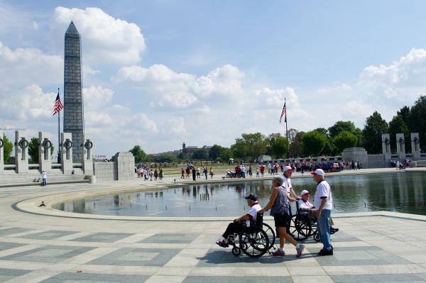 Veterans visit the World War II Memorial on Oct. 5. Several veterans' groups continued to make their pilgrimages to the war memorials despite the shutdown.
