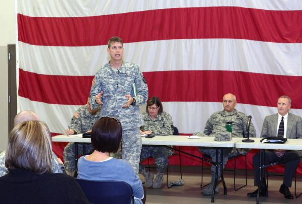 Maj. Gen. Daniel R. Hokanson, Adjutant General, Oregon, addresses Oregon Military Department employees at an internal meeting held Oct. 15 at the Anderson Readiness Center in Salem, Ore.