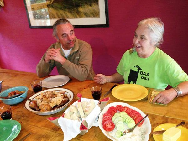 Husband and wife, Pierre-Louis and Joan Monteillet, goat and sheep farmers, set a late lunch for friends. They're all for labeling foods as described in the Washington State voter's Initiative 522.