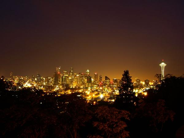 This file photo taken from Queen Anne Hill shows that urban sky glow is evident in the night sky over Seattle.