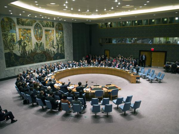 The U.N. Security Council votes on a resolution that will require Syria to give up its chemical weapons, at U.N. Headquarters last month.