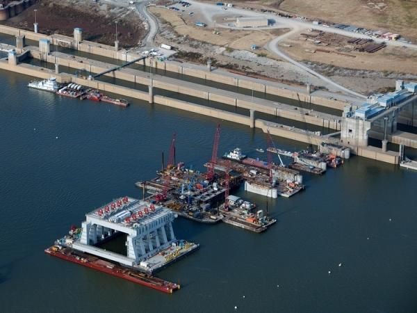 The Olmsted Locks and Dam project is under construction on the Ohio River between Illinois and Kentucky.
