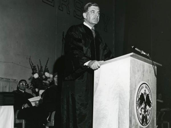 Congressman Tom Foley speaks at Gonzaga's commencement ceremony in May 1973.