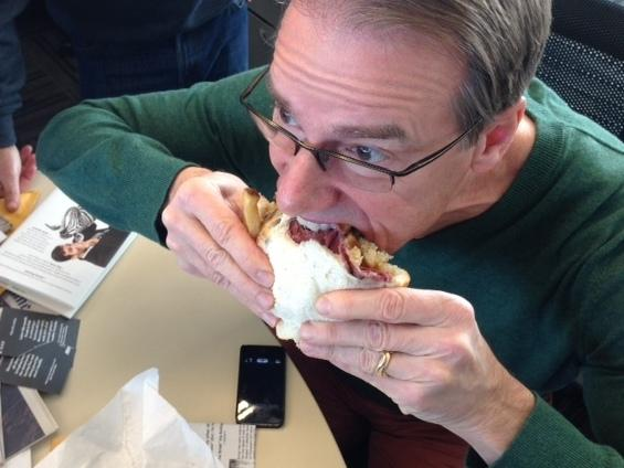 Seconds later, Robert's iPhone was covered in loose pastrami.
