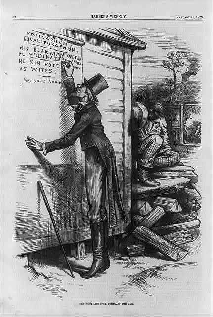 This editorial cartoon from a January 1879 edition of <em>Harper's Weekly </em>pokes fun at the use of literacy tests for blacks as voting qualifications.