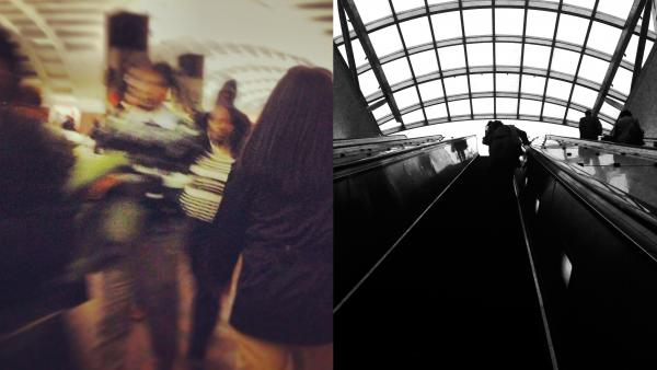 Becca Bullard commutes every day from Arlington, Va., via Metro's Virginia Square station to her work in downtown Washington, D.C. Her commute to work begins around 9 a.m. (left), and she arrives home around 6:30 p.m. (right).