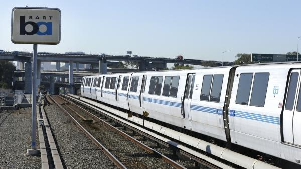 Ready to go back into service: Bay Area Rapid Transit (BART) train cars at a station in Oakland, Calif.