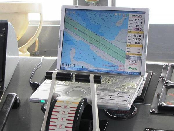 This undated photo made available by NOAA shows a computer displaying an electronic nautical chart aboard a ship.