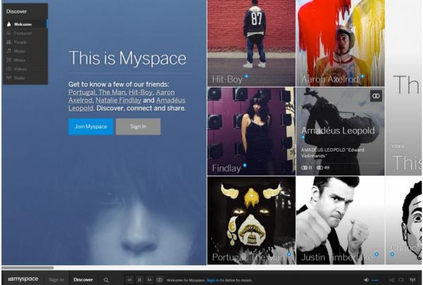 Screenshot of the new Myspace homepage (myspace.com)