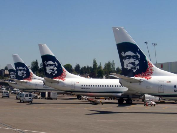 File photo of Alaska Airlines jets at SeaTac Airport.