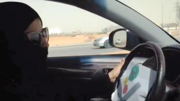 An image taken from a video from the Oct. 26 driving campaign shows a Saudi woman driving in Riyadh. A Saudi woman said she drove to the grocery store without being stopped or harassed by police as part of a protest against a ban on female drivers.
