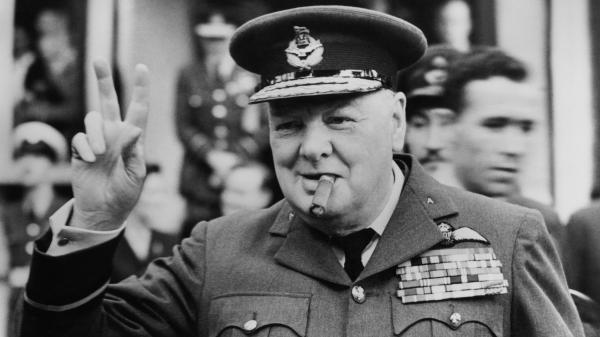 Winston Churchill opens the new headquarters of a Royal Auxiliary Air Force squadron at Croydon in 1948.