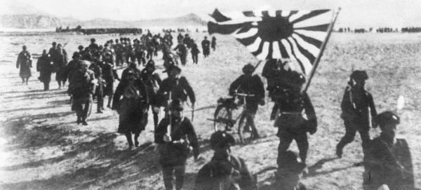 The Japanese army presses forward in the Pacific theater during World War II.