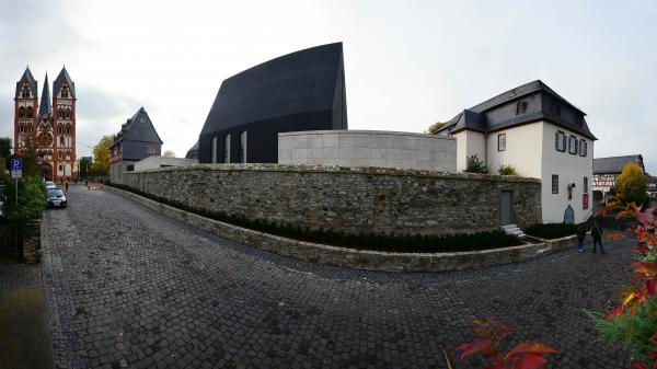 This panoramic image (a composite of 9 photographs) shows part of the exterior of the bishop's residence in Limburg, Germany.