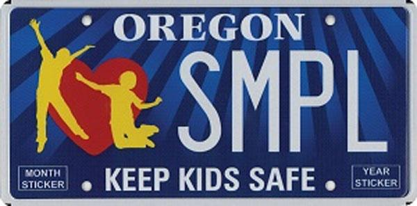 "A sample copy of the ""Keep Kids Safe"" plate."