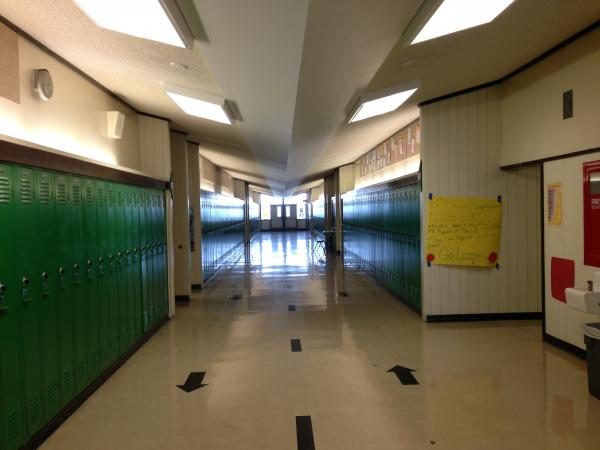 A hallway at Hamlin Middle School in Springfield.