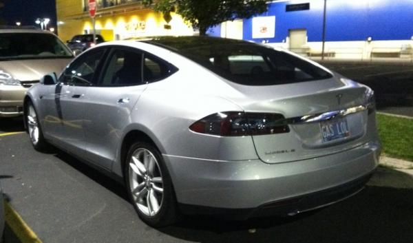 "A Tesla Model S spotted in Portland with a license plate that reads, ""GAS LOL."" Tesla Motors has made headlines with two fiery car crashes which has dropped company shares."
