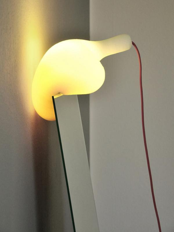 The Soft Light's lampshade is crafted from a massive block of polyurethane foam.