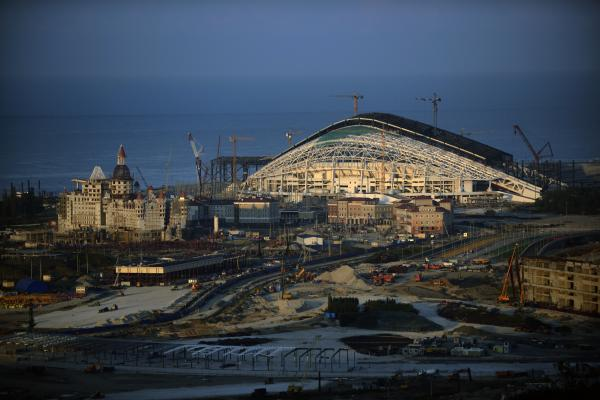 The main Olympic stadium, under construction at the Olympic Park in Adler, outside Sochi, in August.