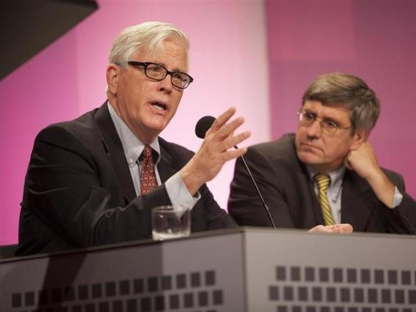 "Conservative radio host Hugh Hewitt (left) and <em>Wall Street Journal</em> editorial board member Stephen Moore argue in favor of the motion ""For A Better Future, Live In A Red State"" at an <em>Intelligence Squared U.S.</em> debate on Oct. 18."