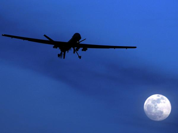 A U.S. Predator drone flies over Kandahar Air Field, southern Afghanistan.