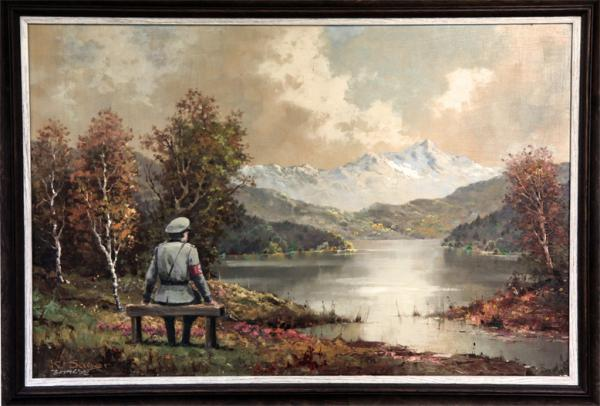 <em>The Banality of the Banality of Evil</em> by Banksy. Oil on canvas, 2013.