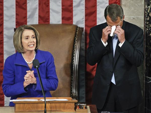 One of House Speaker John Boehner's tearful moments came as he took over from Democrat Nancy Pelosi last January.