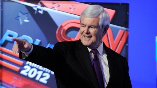 <p>Newt Gingrich is introduced before the start of a Republican presidential debate earlier this month in Las Vegas.The former House speaker is hoping for a surge after a highly anticipated Iowa caucus poll is released this weekend. </p>