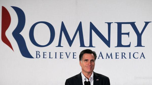 Mitt Romney speaks during a Chamber of Commerce breakfast Monday in Nashua, N.H.