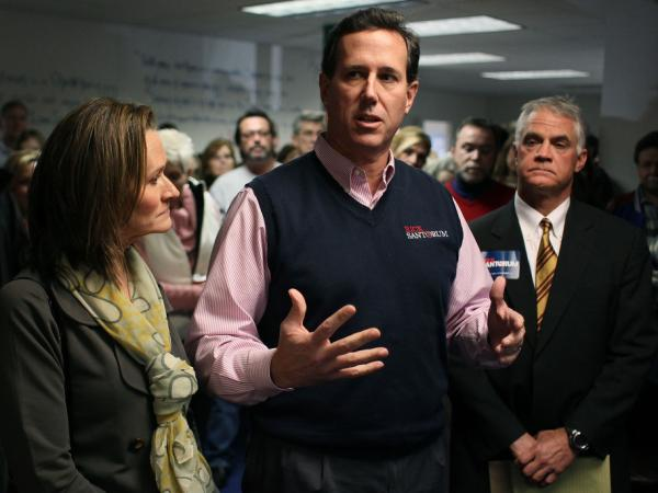 Republican presidential candidate former U.S. Sen. Rick Santorum speaks to supporters after announcing that he was endorsed Saturday by the evangelical Christian leaders group.
