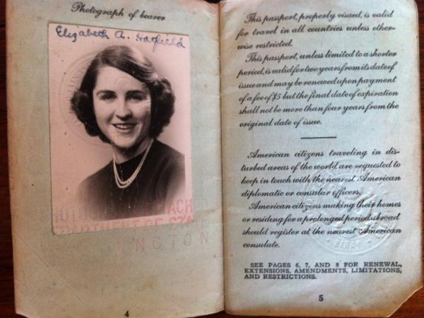 Betty Werther's passport, found after 60 years.