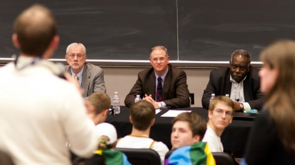 "Vanderbilt administrators and faculty field questions at a January 2012 town hall meeting on the school's controversial ""all comers"" rule. Many campus religious groups say aspects of the policy are discriminatory."