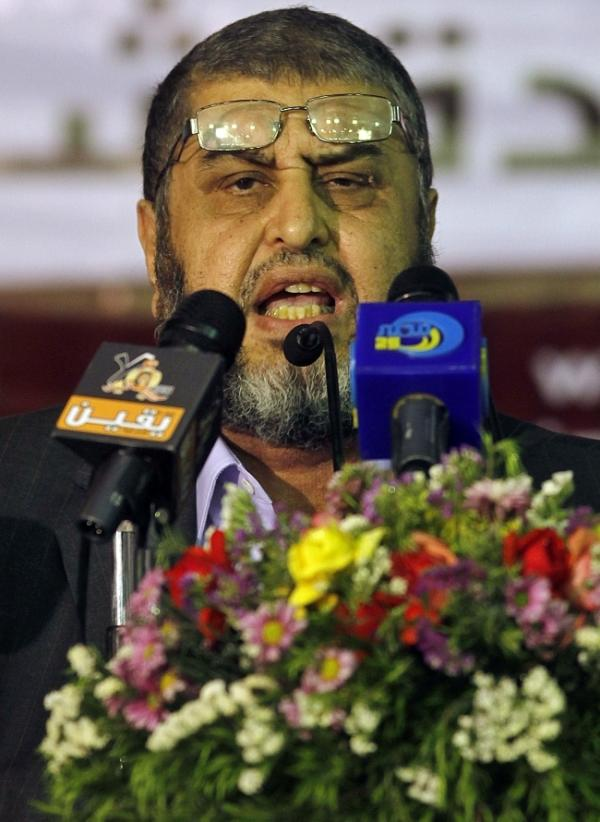 Egypt's Muslim Brotherhood presidential candidate Khairat el-Shater talks to reporters in Cairo on Tuesday. The elections commission has disqualified 10 presidential hopefuls, including el-Shater.