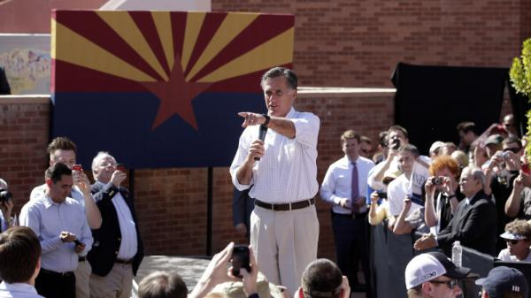 Republican presidential candidate and former Massachusetts Gov. Mitt Romney speaks at a campaign rally in Tempe, Ariz., on Friday.