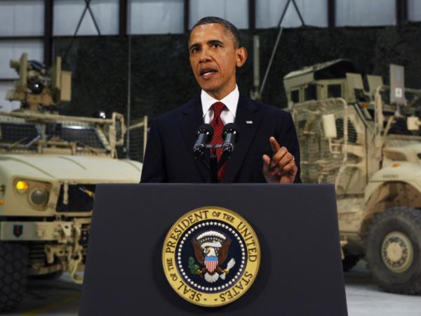 President Barack Obama delivers an address to the American people on U.S. policy and the war in Afghanistan during his visit to Bagram Air Base May 2, 2012 in Afghanistan. Obama told Americans the goal of defeating the al Qaida network was within reach.