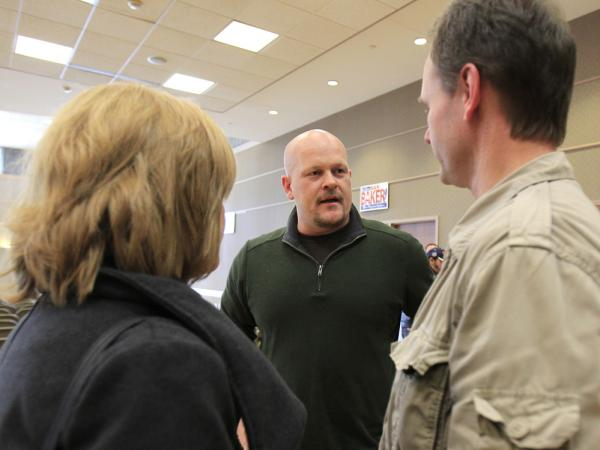 "Republican congressional candidate Joe Wurzelbacher, better known as ""Joe the Plumber,"" talks with supporters in Rocky River, Ohio, in February."