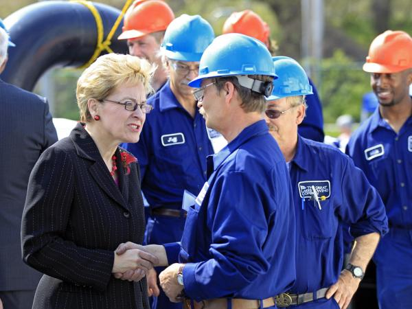 Rep. Marcy Kaptur, D-Ohio, meets shipyard workers in Cleveland before a christening ceremony on May 2.
