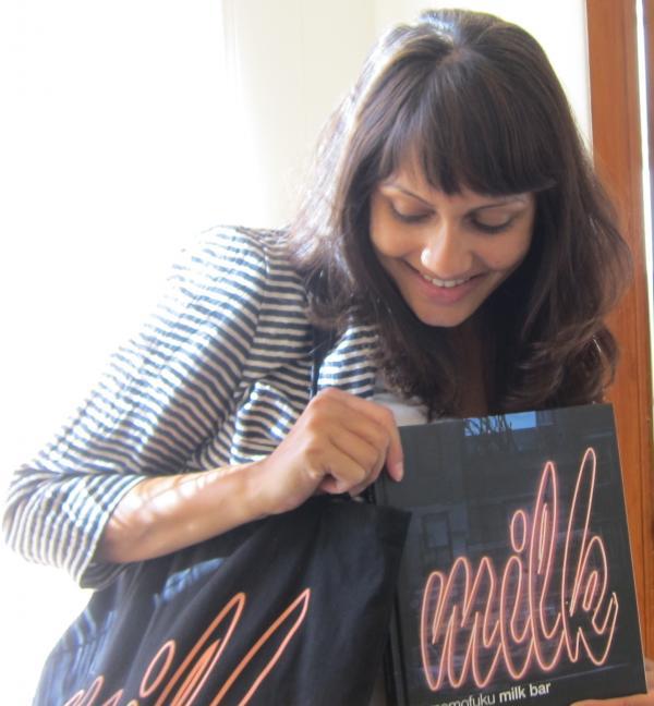 <em>Ask Me Another </em>winnerAnagha Apte shows off her Milk Bar swag.