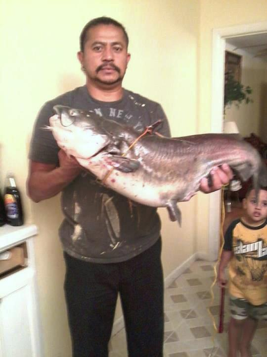 Jose Sosa's holding the big fish he caught in the Freedom Park pond. He gave the fish away, but took a picture to prove he did indeed catch a 21 lb. catfish.