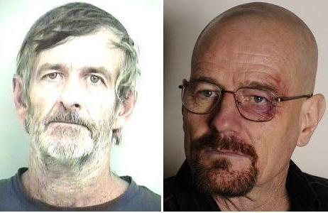 """Real"" Walter White is at left. ""TV Walter"" is at right."