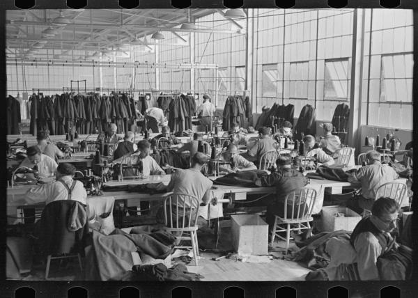 Some 80 garment workers at work in the town's cooperative factory. This was one of a handful of cooperative ventures that were built to be at the center of this new, utopian town. Most failed.