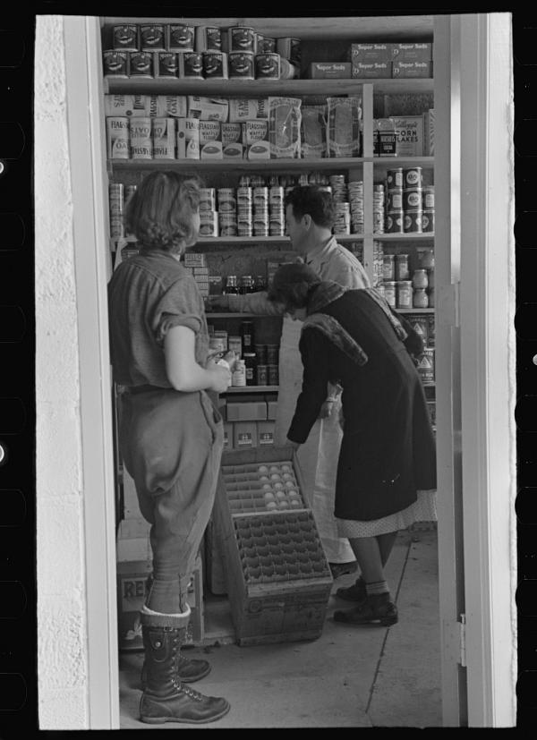 Residents shopped at local cooperative stores in town. This was one of the first, the more permanent home of the shop Nathan Dubin ran out of a garage.