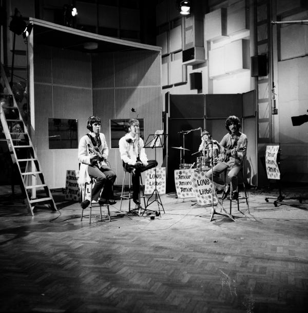 The Beatles rehearse in Studio 1 ahead of the <em>Our World</em> broadcast (1967), the first international satellite television production. This ambitious project showcased creative artists from 19 countries and was viewed by close to 400 million people around the globe — the largest ever TV audience at the time.