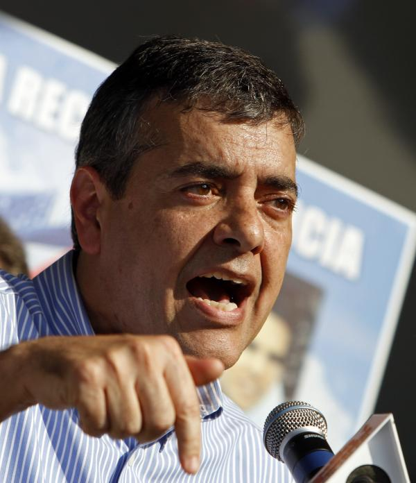Rep. David Rivera, R-Fla., talks during a freedom for Cuba march in Miami on Feb. 24, 2011.