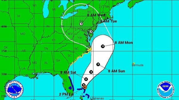 "National Hurricane Center's ""5-day forecast cone"" at 2 p.m. ET today (Oct. 26)."
