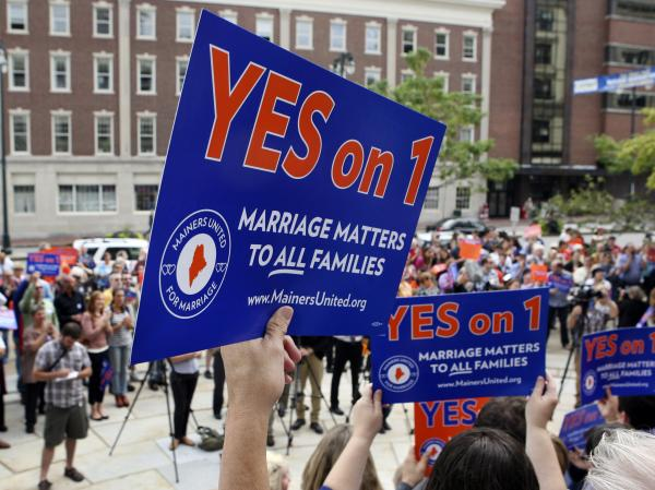 Supporters rally for a referendum to legalize same-sex marriage, Sept. 10 in Portland, Maine.
